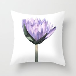 Purple Water Lily in Watercolor Throw Pillow