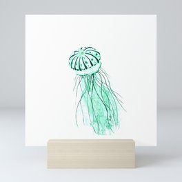 green jellyfish watercolor Mini Art Print