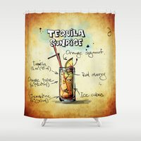 tequila Shower Curtains featuring Tequila Sunrise by jamfoto