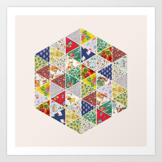 Geometric Floral Quilt Art Print