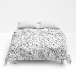 Mermaid Toile - Black and white Comforters