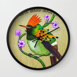 Tufted Coquette On Wood Wall Clock
