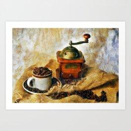 Coffee Grinder and Coffee Cup Art Print