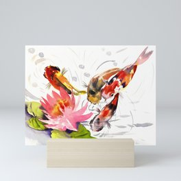 Koi Pond, feng shui koi fish art, design Mini Art Print