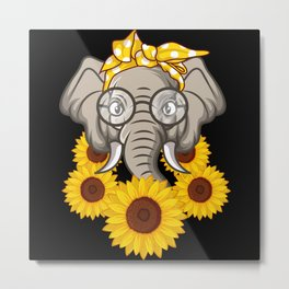 Elephant With Sunflower Gift Metal Print