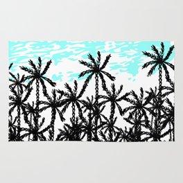 Modern tropical black white teal palm tree pattern Rug