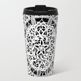 Triangular Black and Metallic White Mandala Travel Mug