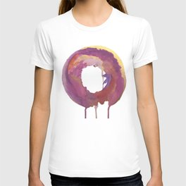 Be present: a colorful, abstract, circular piece in pinks purples and gold T-shirt