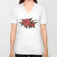 peonies V-neck T-shirts featuring Peonies! by Natalie Clapp