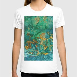 Malachite and Gold Glitter Stone Ink Abstract Gem Glamour Marble T-shirt
