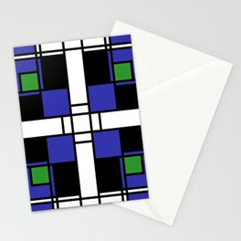 Neoplasticism symmetrical pattern in sapphire blue Stationery Cards