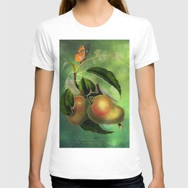 Bombay Mangos with Butterfly, Vintage Botanical Illustration Collage Art T-shirt