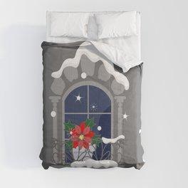 Christmas poinsettia on the window Comforters