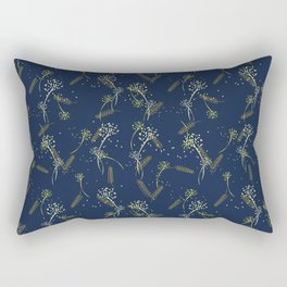 Whimsical wheat and dandelion pattern on french navy Rectangular Pillow