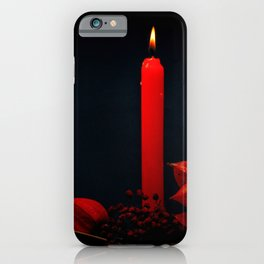 Red Candle Physalis And Rowan Fruits On Black iPhone Case