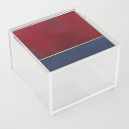 Deep Blue, Red And Gold Abstract Painting Acrylic Box
