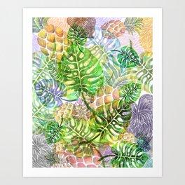 Monstera Pineapple Sky River Reflection Spring Summer Art Print