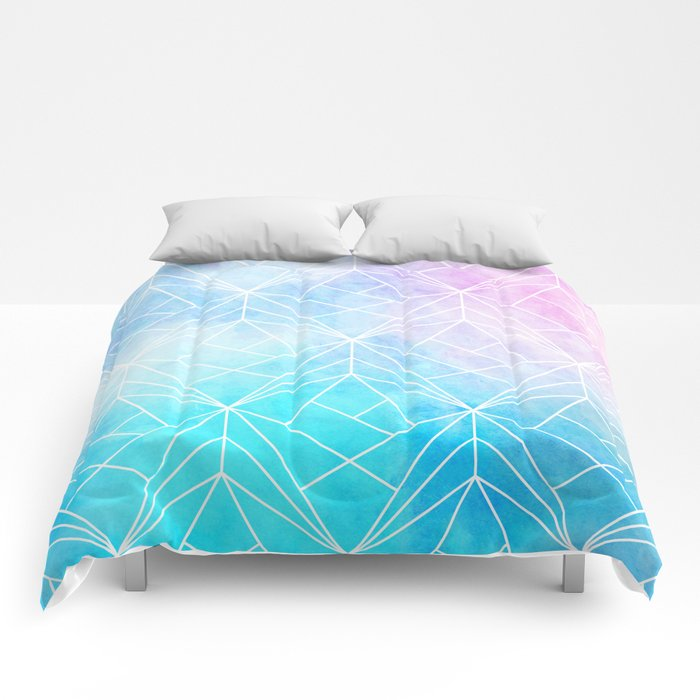 Geometric White Pattern on Watercolor Background Comforters