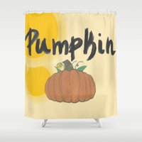 pumpkin Shower Curtains featuring pumpkin by gasponce