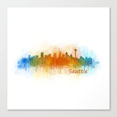 Seattle Washington City Watercolor Skyline Hq v3 Canvas Print