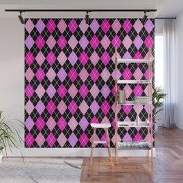 Pink Lavender Black Argyle Wall Mural