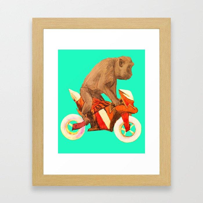 MONKEY BIKER Framed Art Print