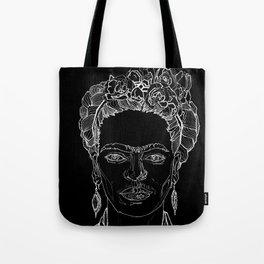 Geometric Black and White Drawing Frida Kahlo Tote Bag