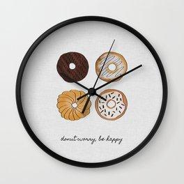 Donut Worry, Be Happy, Funny Art Wall Clock