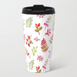 Neon pink green fall watercolor hand painted leaves Travel Mug