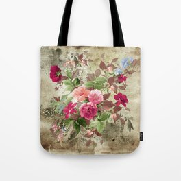 Roses on Vintage Background Tote Bag