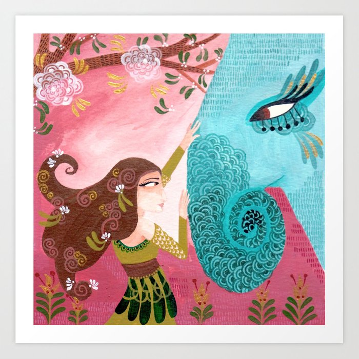Embracing the Majestic - Hand-painted Illustration Art Print