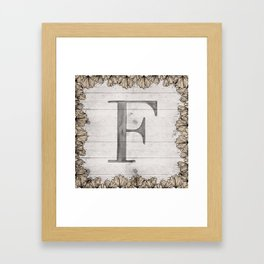 Neutral Monogram F Framed Art Print