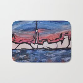 Paint the City,toronto,skyline,city,scape,pink,blue,cn tower,buildings,water,canada,ontario,wall art Bath Mat