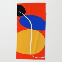 Red Zen Minimal Abstract Beach Towel