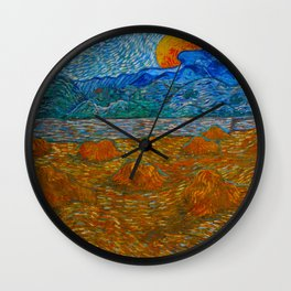Landscape with wheat sheaves and rising moon Oil on canvas Painting by Vincent van Gogh Wall Clock