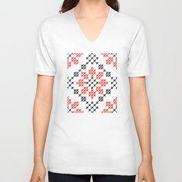 Traditional Romanian flower cross-stitch pattern white Unisex V-Neck