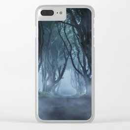 Very cold foggy morning at Dark Hedges Clear iPhone Case