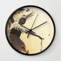 crane Wall Clocks featuring Crane  by Devon Busby Busbyart