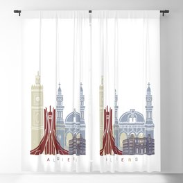 Algiers skyline poster Blackout Curtain