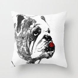 Bulldog Pop Art - How Bout A Kiss 2 - By Sharon Cummings Throw Pillow