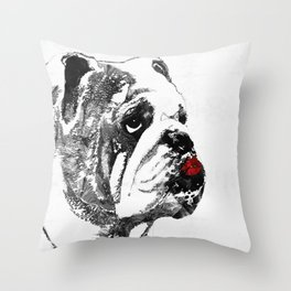 Bulldog Pop Art - How Bout A Kiss 2 - By Sharon Cummings Throw Pillow