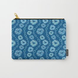 Wavy Toothy Flowers > Blue Carry-All Pouch