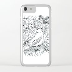 Sketched bird and flowers Clear iPhone Case