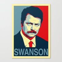 parks and rec Canvas Prints featuring Ron Swanson (Parks & Rec) 'Hope' Poster Parody by posteritty