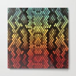 Blue/Gold/Red Snake Skin Metal Print