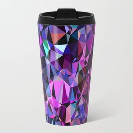 geometric triangle polygon pattern abstract in pink blue black Travel Mug