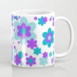 Turquoise Teal Blue and Purple Floral Coffee Mug
