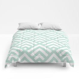 Turquoise Blue geometric art deco diamond pattern Comforters