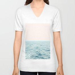 Sea Breeze, Minimal Nature Ocean Photography, Scenic Landscape Pastel Luxe Sea Unisex V-Neck