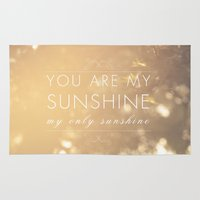 you are my sunshine Area & Throw Rugs featuring You Are My Sunshine by Sandra Arduini